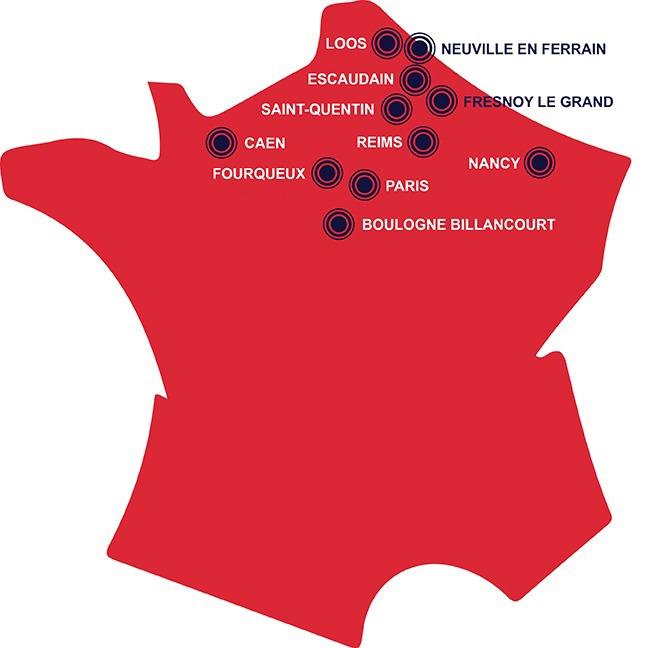 Fourqueux (78), Boulogne Billancourt (92), Paris (8ème), Caen (14), Escaudain (59), Loos (59), Neuville en Ferrain (59), Fresnoy le Grand (02) et Saint Quentin (02).